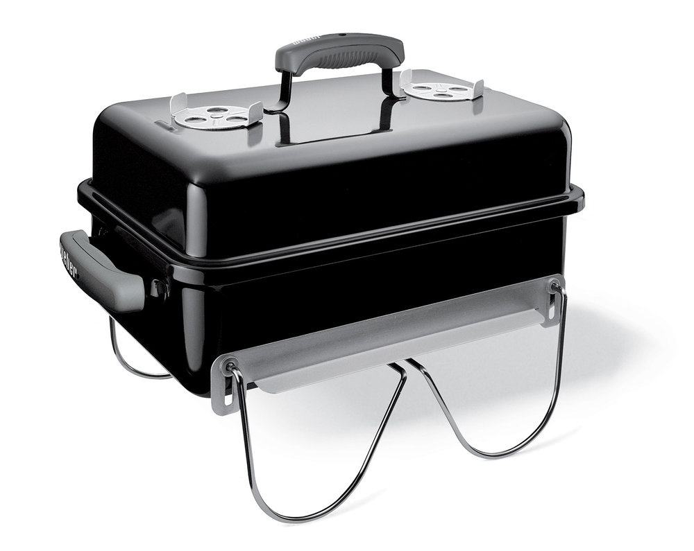WEBER GO ANYWHERE $129.95   The ultimate in hibachi style cooking, providing perfectly grilled steaks or satays over glowing charcoal. Unlike traditional hibachis, the lid enables you to smoke fish and can also be angled to act as a windbreak. The Weber Go-Anywhere has legs that fold up to hold the lid in place when carrying. A beautiful porcelain enamelled finish prevents rust and makes cleaning easy too. Built to last, it comes with Weber's 10 year limited warranty.
