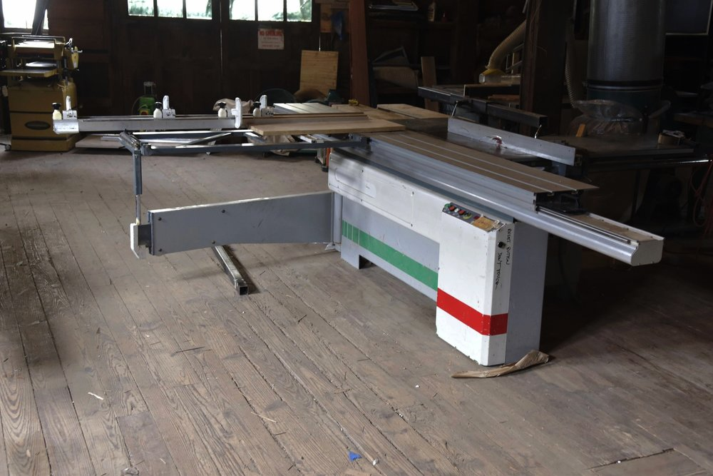 A ten foot sliding arm table saw.