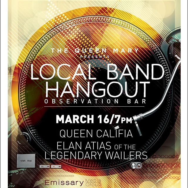 3/16 I'll be at @TheQueenMary for a very special Local Band Hangout! This new night happens the third Thursday of every month and I'm excited to play in the historic Observation Bar. Tickets are $10 and redeemable for food & beverage. Don't wait to get yours. queenmary.com