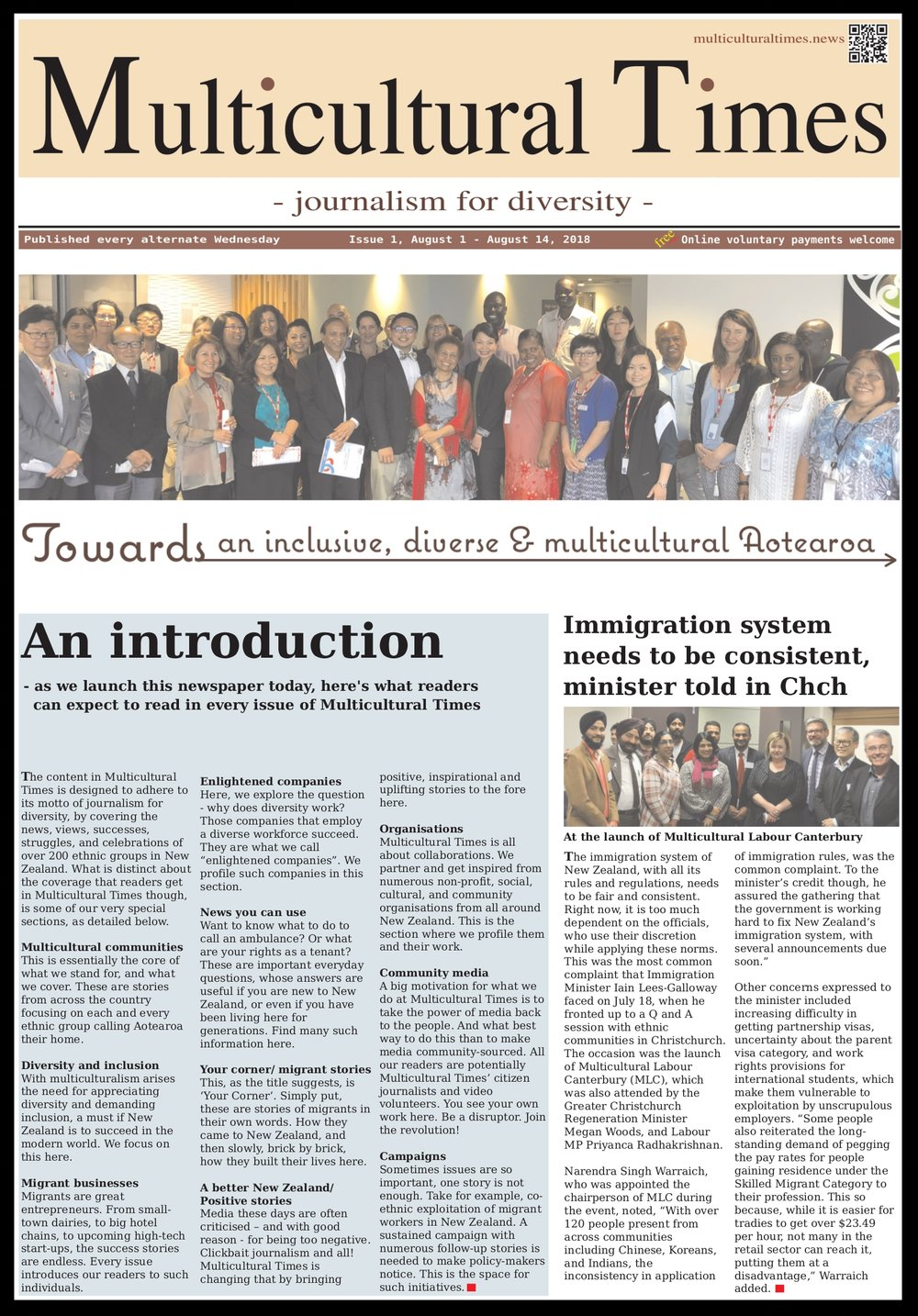 Click on the picture to download and read the pdf version of the first issue of Multicultural Times