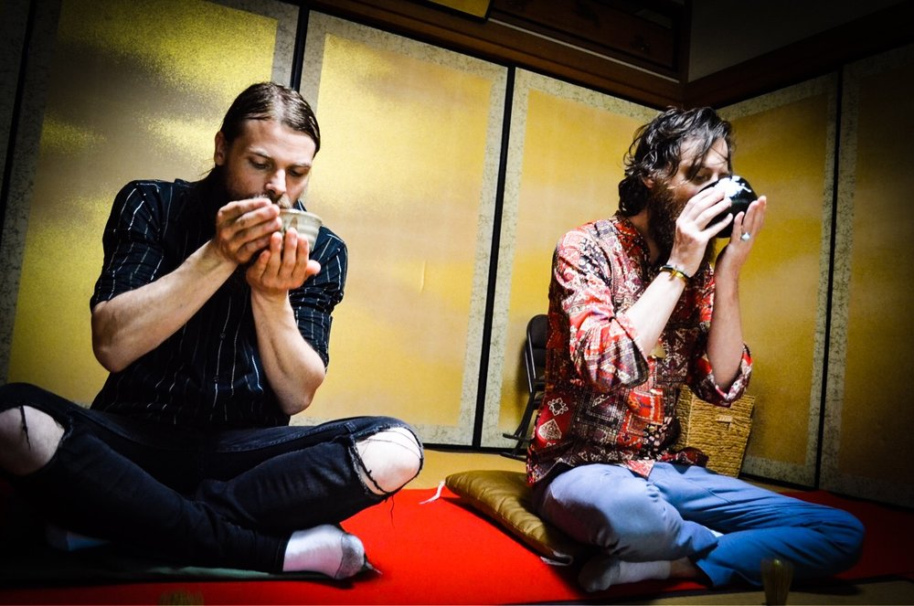 Brett and Kyle drinking matcha at a Traditional Tea Ceremony in Kyoto