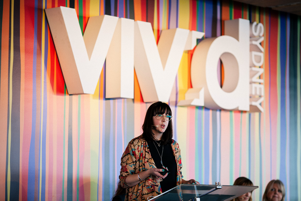 Fiona Killackey speaking to a sold out audience at Vivid Ideas, Sydney June 2016. Image by Lee Sandwith