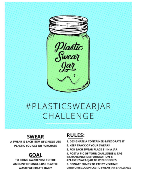 1. Take the Plastic Swear Jar Challenge - The challenge to bring awareness to the amount of plastic waste you produce on a daily basis. This will help you determine the small changes you can make in your everyday life that will make a big difference in the world! Let's face it, it hurts when it hits your pocket. But what's chump change to you is a significant amount to others.