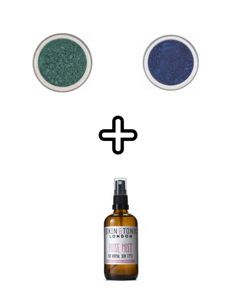 Hiro Mineral Eyeshadow in  Emerald  &  Naughty Call  mixed with Skin & Tonic  Rose Mist  allows for an easy paint on application and seamless blending of colours.