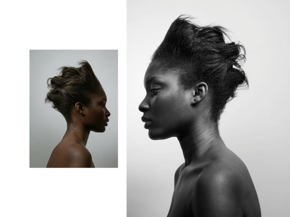 Funmi wears  Naturalmente Macassar Reconstructing Fluid  and  Naturalmente Jojoba Shine Spray .