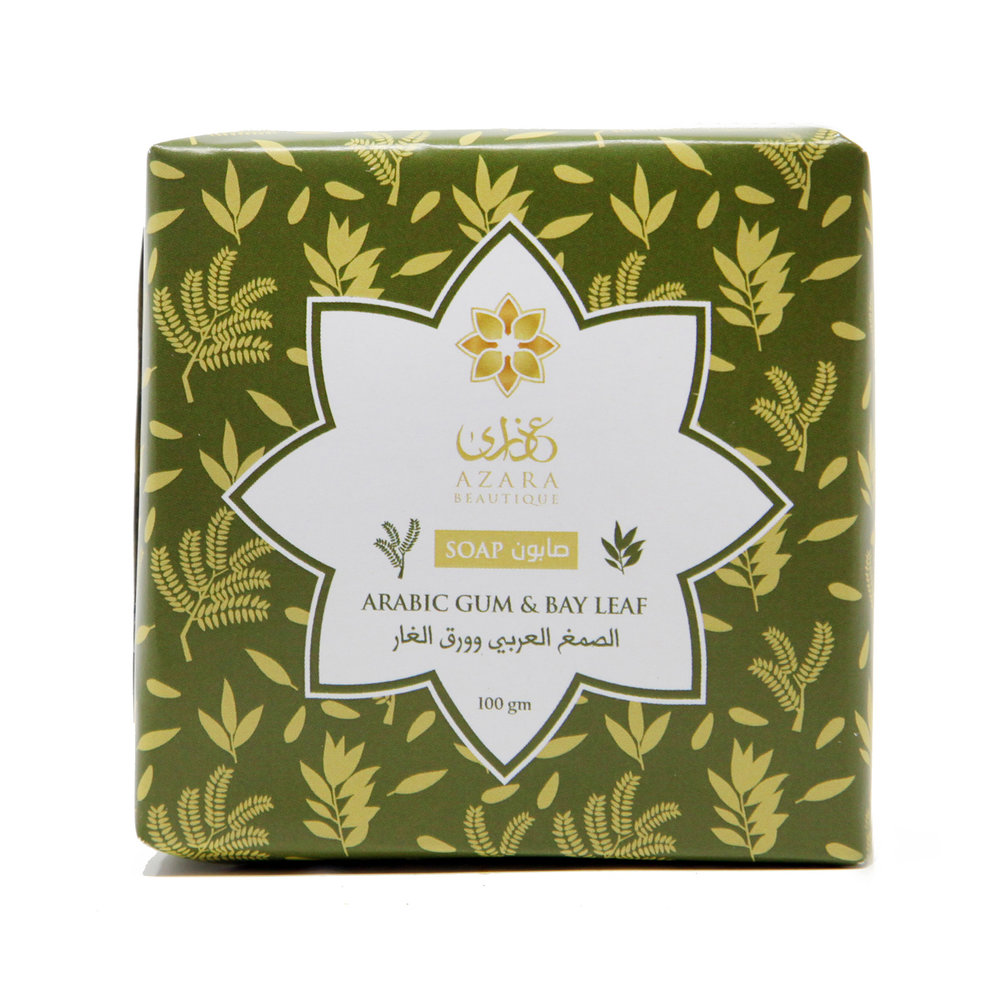Azara Beautique's Arabic Gum & Bay Leaf Soap can be used for face, body,and hair. This particular formulation lightens scars and strengthens hair.
