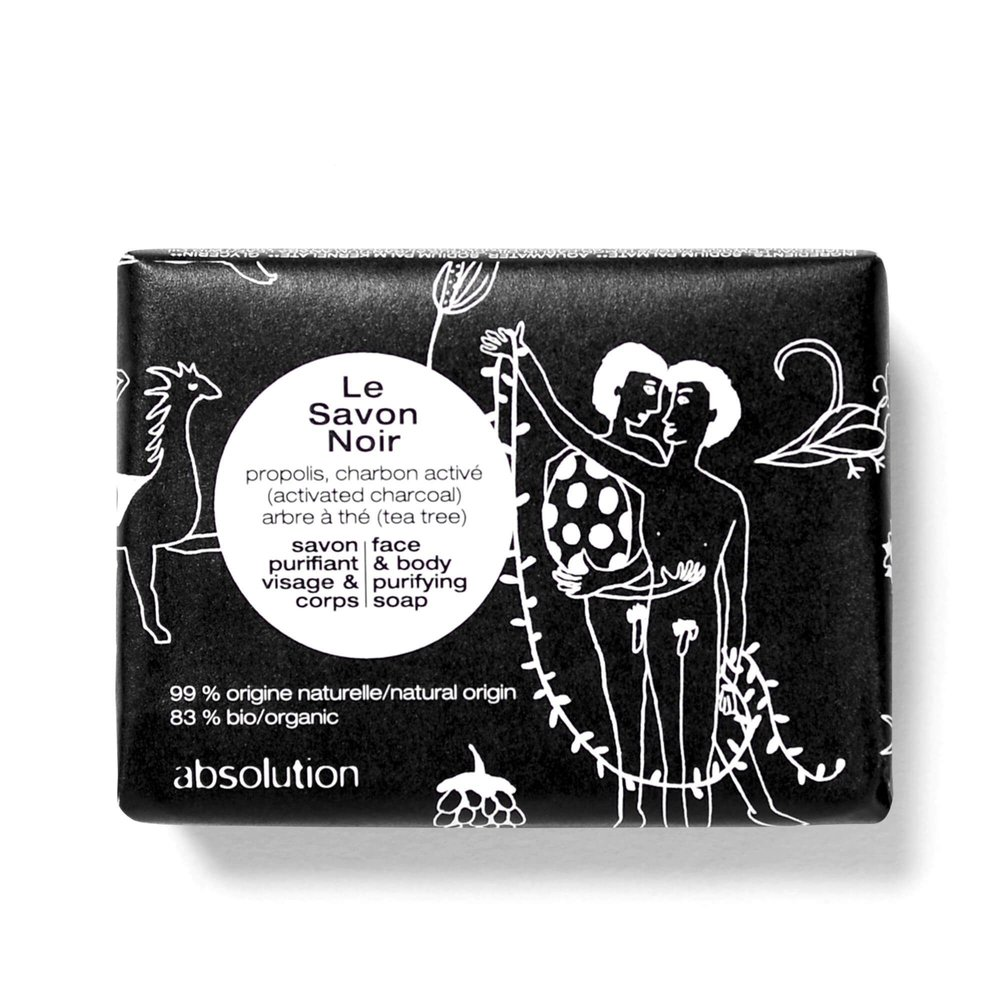 Absolutions Le Savon Noir non-drying soap is ideal for gently purifying and restoring balance to blemish-prone skin. Face, hands & body. It's also a great shaving soap for men. I was sold on the packaging alone.