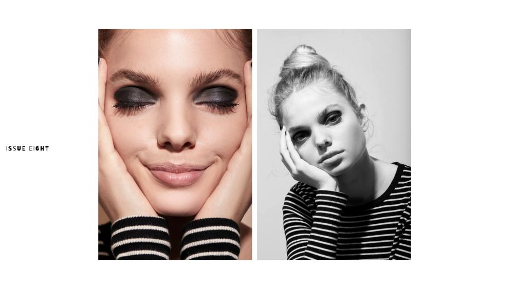 Grace wears  Couleur Caramel Matte Eyeshadow in Black  and  Burt's Bees Nourish Mascara in Classic Black . Lips:  Therapi Honey Skincare Lip Nectar