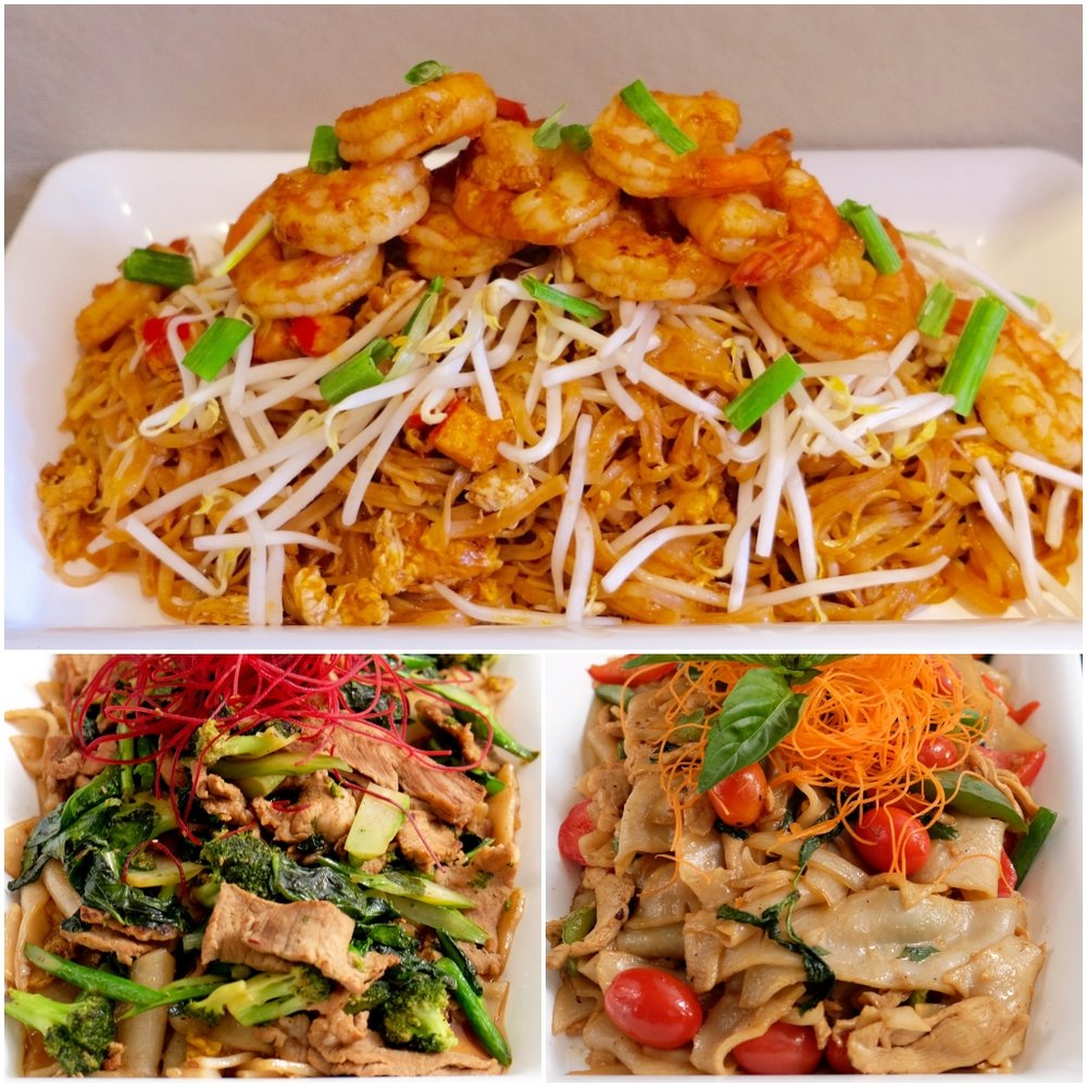 Noodle Wok Combo $110/$105 - Meat Option - $110 (includes the following 3 dishes)Pad Thai - Shrimp (with thin rice noodles)Pad See Eew - Pork (with wide rice noodles)Drunken Noodles - Chicken (with wide rice noodles)Vegetarian Option - $105 (includes the following 3 dishes)Pad Thai - Tofu (with thin rice noodles)Pad See Eew - Mushroom (with wide rice noodles)Drunken Noodles – Mixed Vegetables (with wide rice noodles)