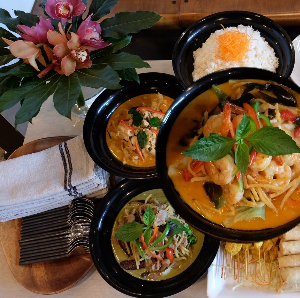 Curry Combo $114/$108 - (each option is served with white Jasmine rice)Meat Option - $114 (includes the following 3 dishes)Green Curry - PorkRed Curry - ShrimpPanang Curry - ChickenVegetarian Option - $108 (includes the following 3 dishes)Green Curry - Mixed Vegetables & TofuRed Curry - Mixed Vegetables & TofuPanang Curry - Mixed Vegetables & Tofu
