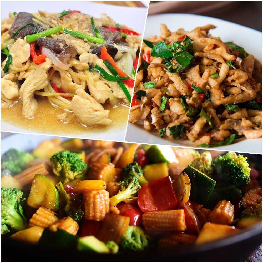 Sautéed Combo $110/$105 - (each option is served with white Jasmine rice)Meat Option - $110 (includes the following 3 dishes)Pad Khing - ChickenKa Prow - PorkSoy Stir-fry - Mixed Vegetable & TofuVegetarian Option - $105 (includes the following 3 dishes)Pad Khing - Mixed Vegetables & TofuKa Prow - Mixed Vegetables & TofuSoy Stir-fry - Mixed Vegetables & Tofu