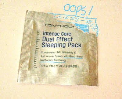 "PRODUCT REVIEW: TONYMOLY ""INTENSE CARE DUAL EFFECT SLEEPING PACK SAMPLE"""