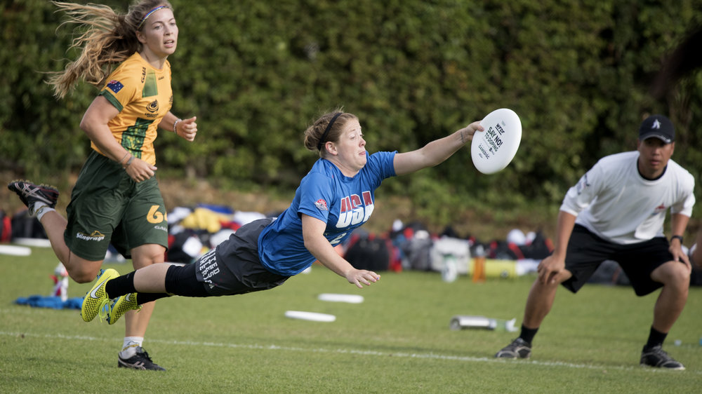Big layout grab from Shofner from the 2015 U23s semifinals against Australia. (Jolie Lang, UltiPhotos)