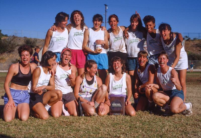 "Gloria ""Glo"" LustPhillips (top row, second from the right) celebrates Lady Godiva's first UPA championship in 1988."