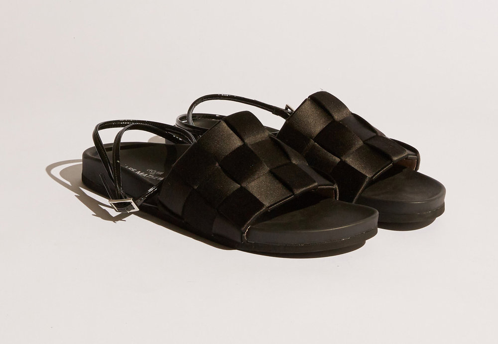 Lee Mathews  L'eclisse Satin Weave Sandal