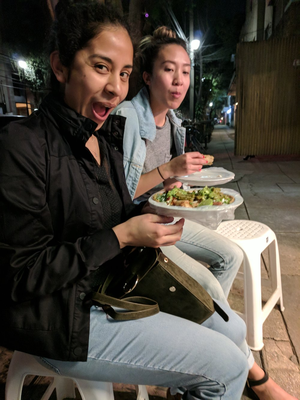 Gals with their food