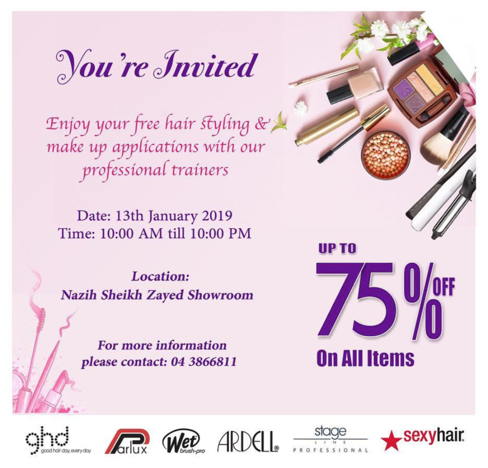 d552717075a Free Hair styling & Make up With Nazih Cosmetics Professional ...