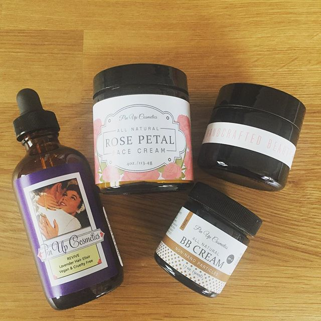 Our daily essentials on this #rainy day in #sanfrancisco #pinupcosmeticssf #naturalbeautyproducts #ecobeauty #wellness #bbcream #hairserum #moisturizer #handmade #handcrafted