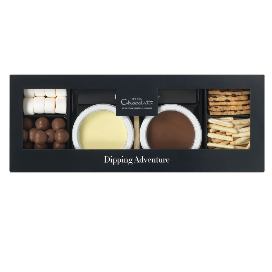 Hotel Chocolat - This is a perfect date night treat for a pricier hamper. It's chocolate fondue with all you could need for an after dinner romantic dessert - but fun too! Mini Chocolate Dipping Adventure for Two, Hotel Chocolat £20