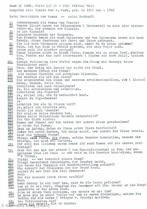 Interview with Tinnin Fané, page 1/3 French Translation by Sedion Dotremene Archive by Karl-Heinz Krieg, Tinnin Fané