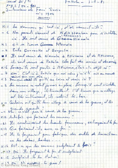 Interview with Tinnin Fané, page 1/6 French Translation by Sedion Dotremene Archive by Karl-Heinz Krieg, Tinnin Fané