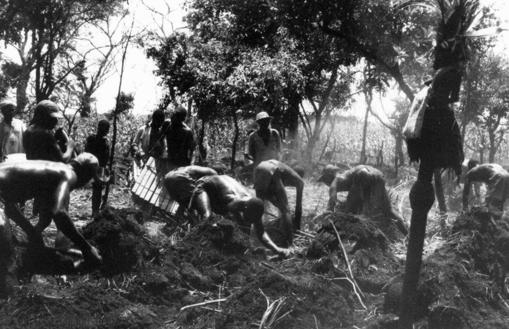 Feldbau-Wettbewerb in Kounoumon. Vorne rechts der Trophäenstab, der am Morgen beopfert wurde. Foto: Karl-Heinz Krieg, Kounoumon (Region von Boundiali, Côte d'Ivoire), 1980