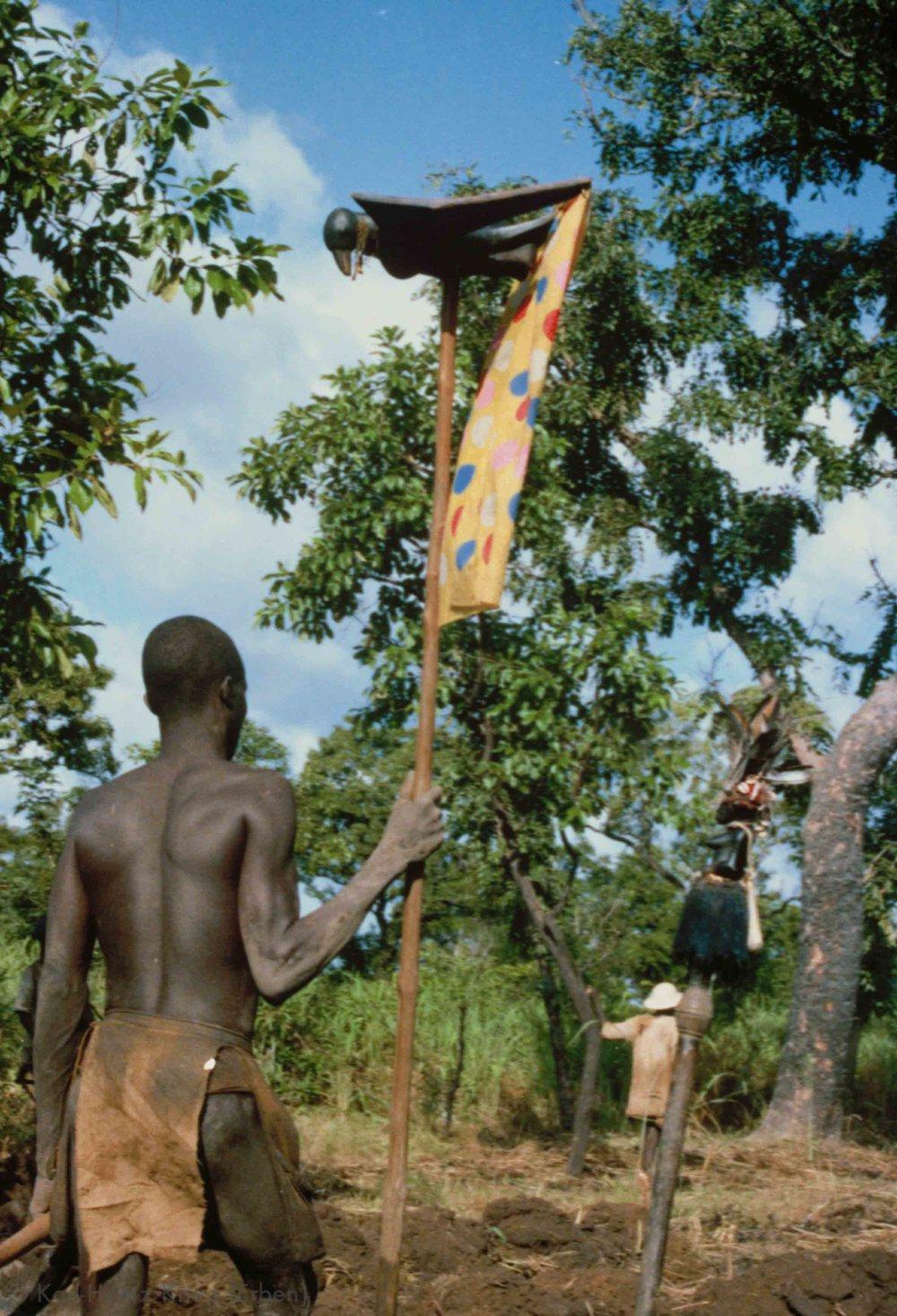 Senufo-Bauer mit Trophäenstab beim Feldbau-Wettbewerb in Kounoumon. Foto: Karl-Heinz Krieg, Kounoumon (Region von Boundiali, Côte d'Ivoire), 1980