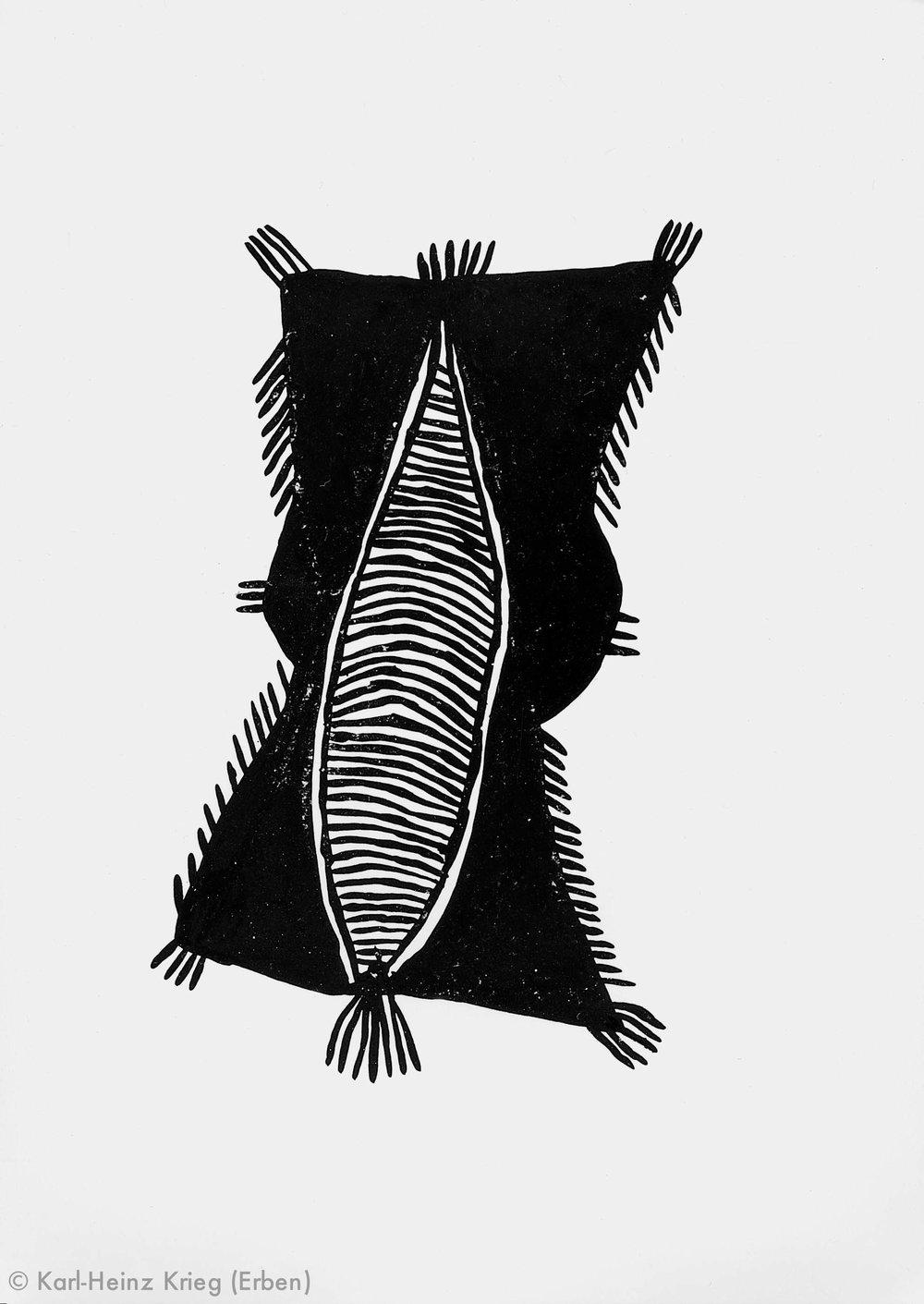 Akoi Zoumanigi Völi, 1991 Dispersionsfarbe/Papier, grundiert 47,5 x 33,5 cm Werknr. 38-1991/47