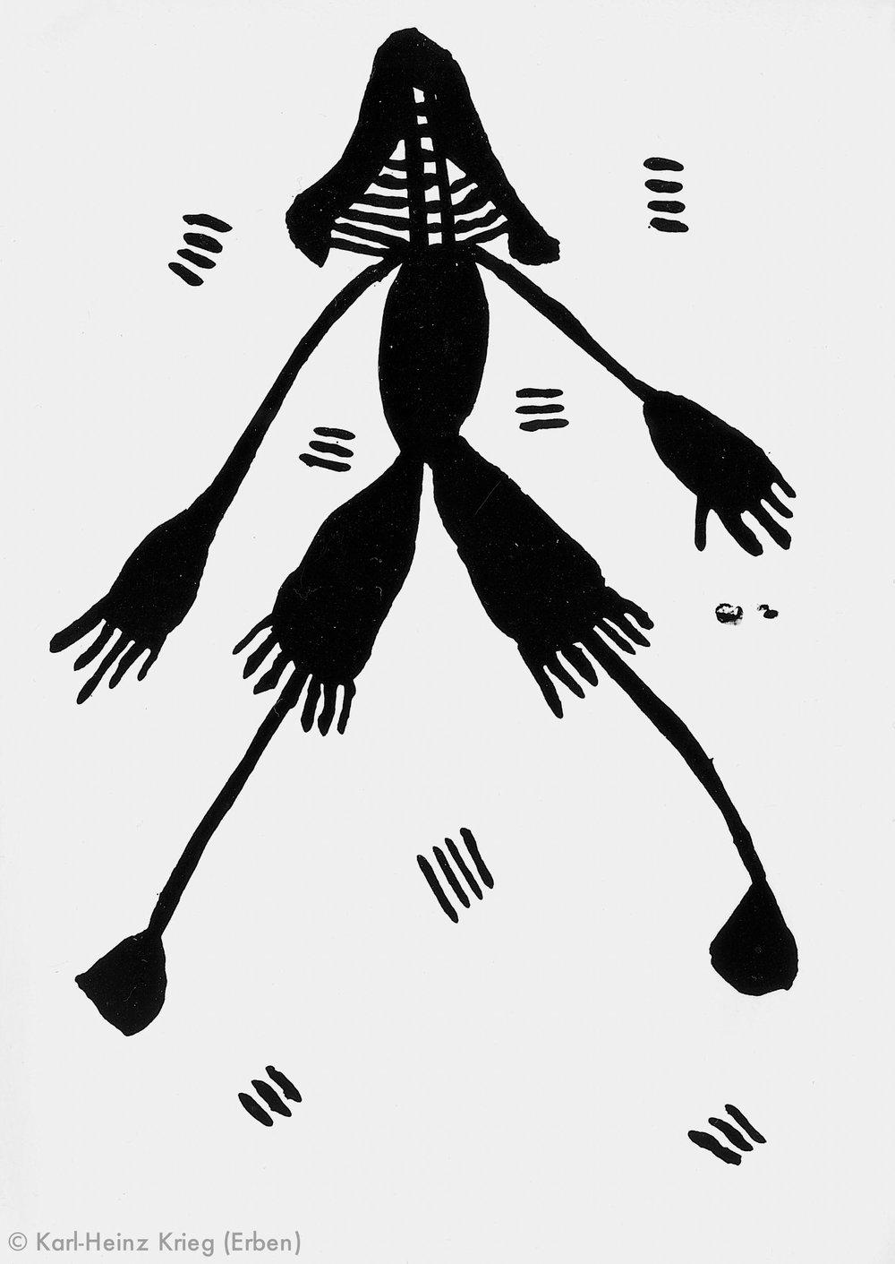 Akoi Zoumanigi Maskentänzer, 1996 Acryl/Papier, grundiert 28,1 x 20,8 cm Werknr. 38-1996/7