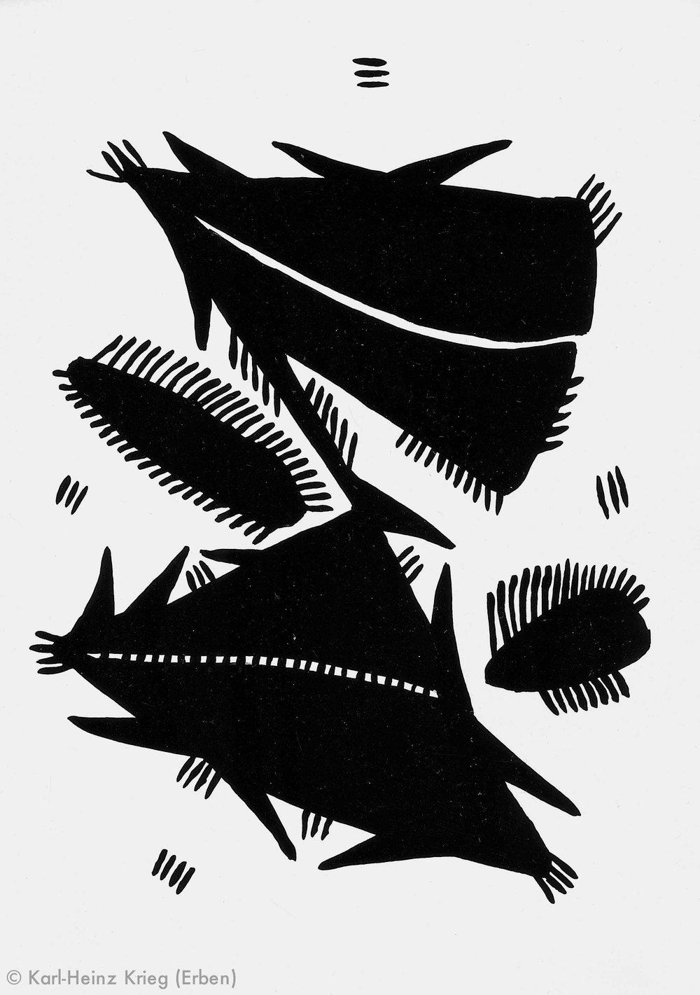 Akoi Zoumanigi Vielfüßler, Dreiecke, 1996 Acryl/Papier, grundiert 39,6 x 29,1 cm Werknr. 38-1996/73