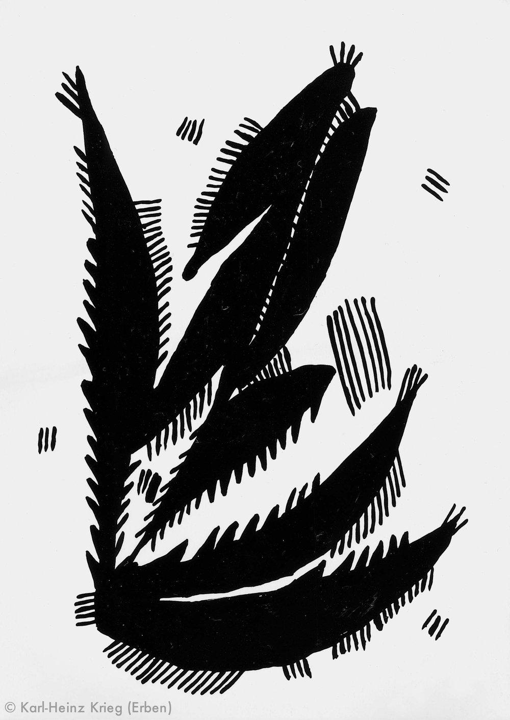 Akoi Zoumanigi Blattornament, Bhékpégi, 1996 Acryl/Papier, grundiert 40,8 x 29,1 cm Werknr. 38-1996/93