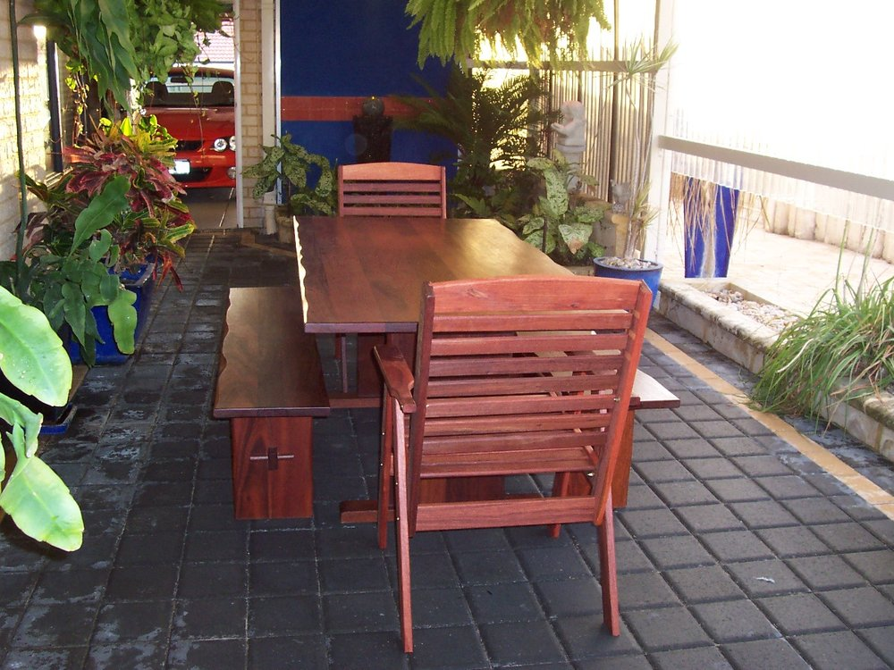 p57 Solid jarrah aflresco setting with benches.JPG