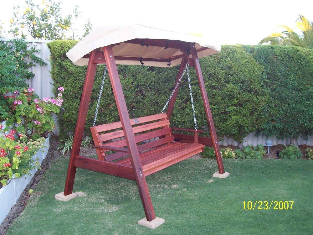 Solid Jarrah horizontal slat swing