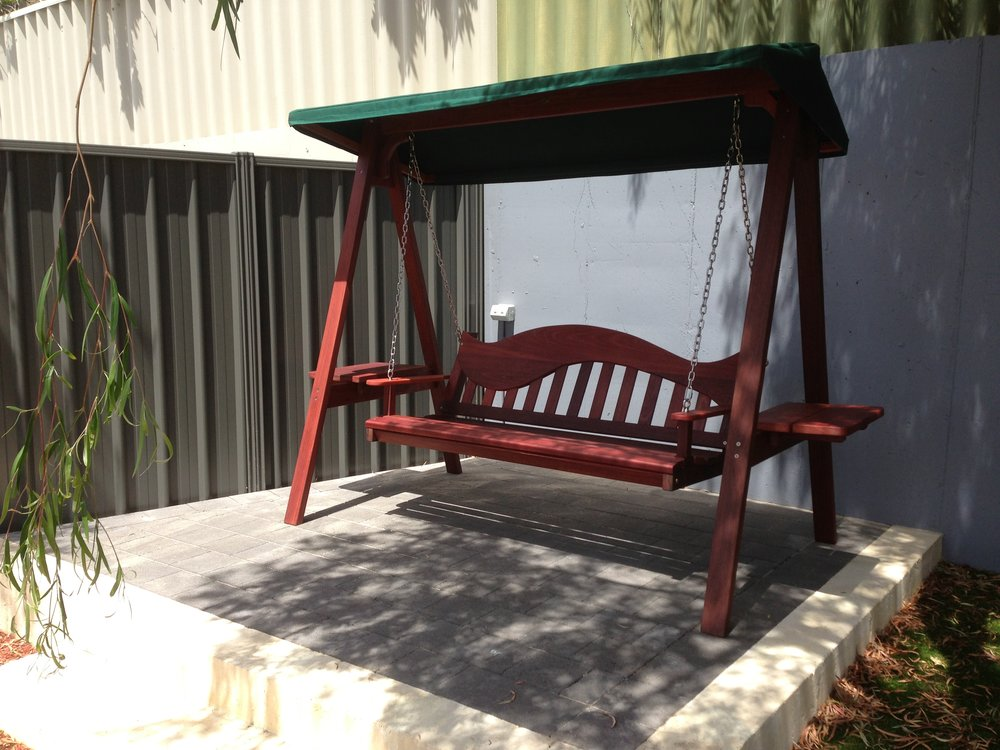 Swing with canvas sun shade