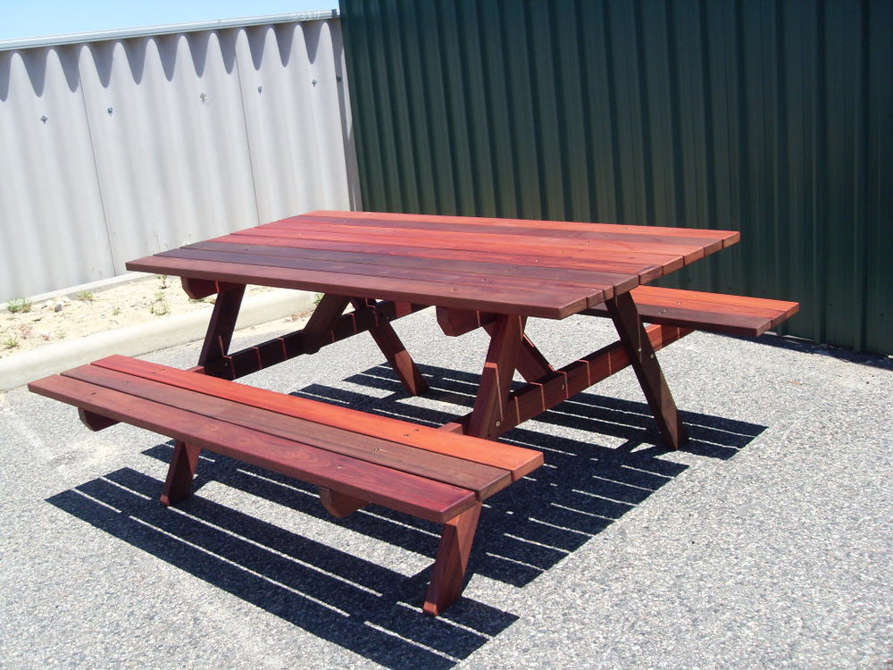 e11 Port  6 seater picnic tables with attached benches.JPG