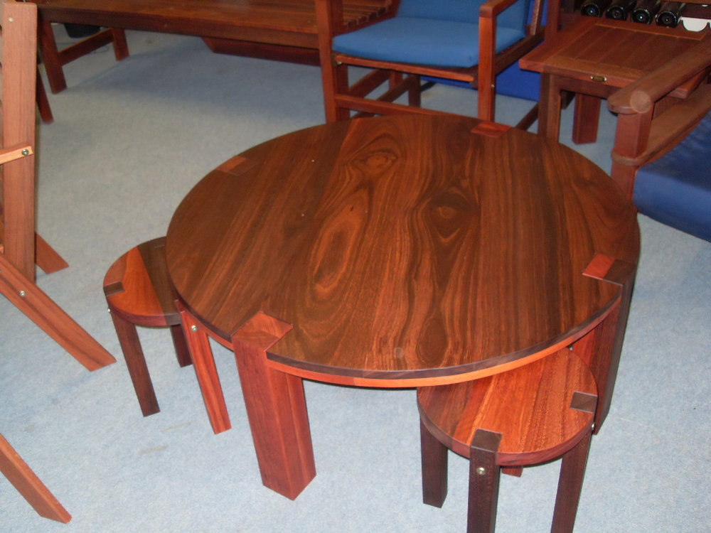 Round coffee table and side tables.JPG