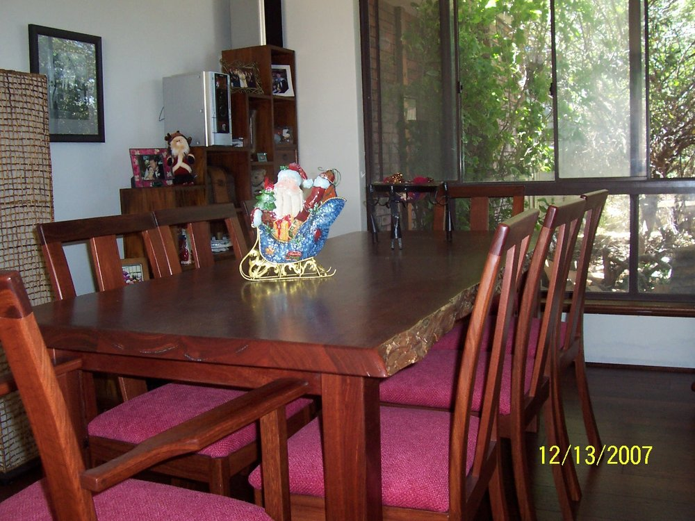 m15 Natural edged Jarrah dining table with custom made chairs.JPG