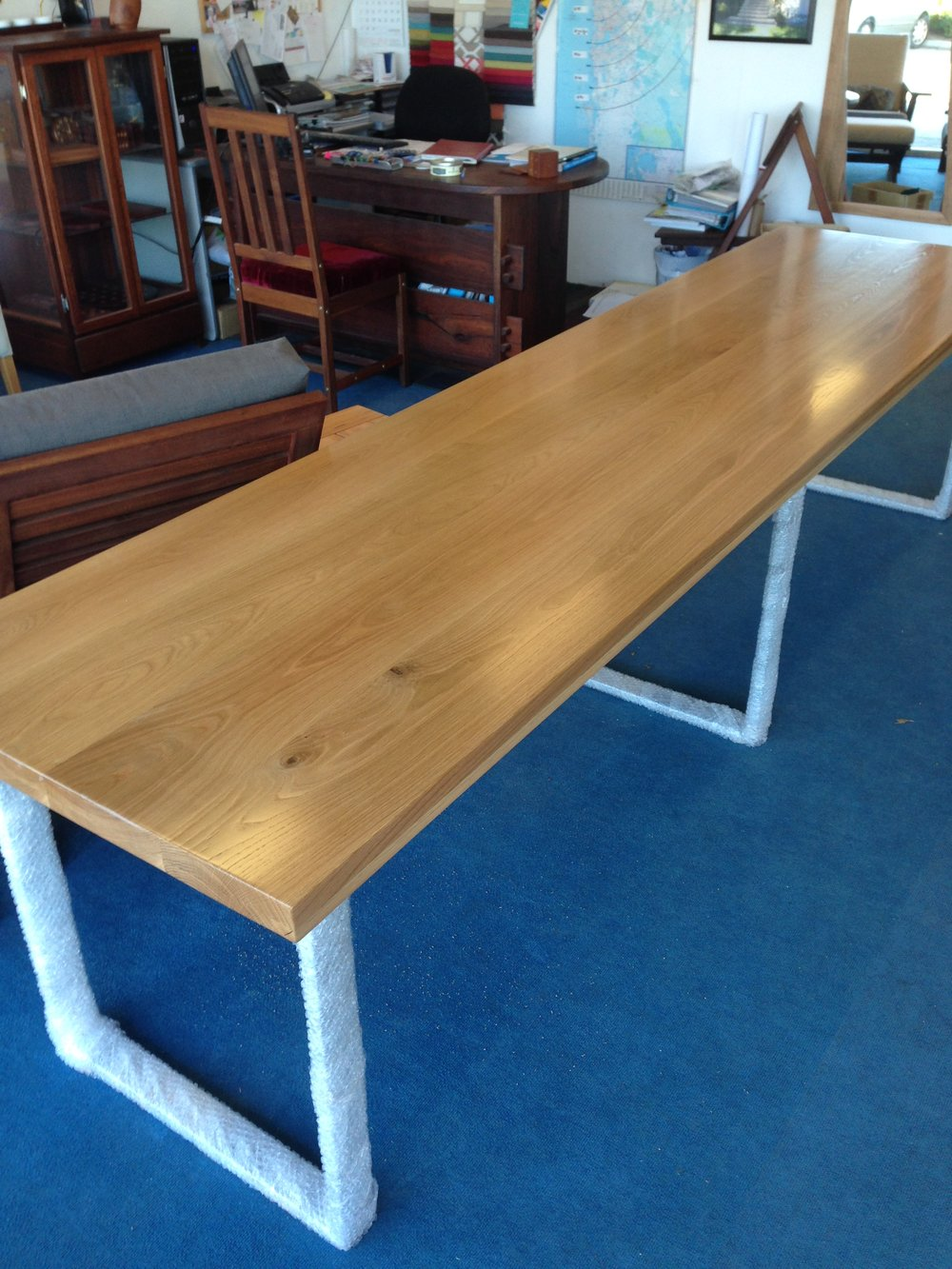 American White Oak and stainless steel desk