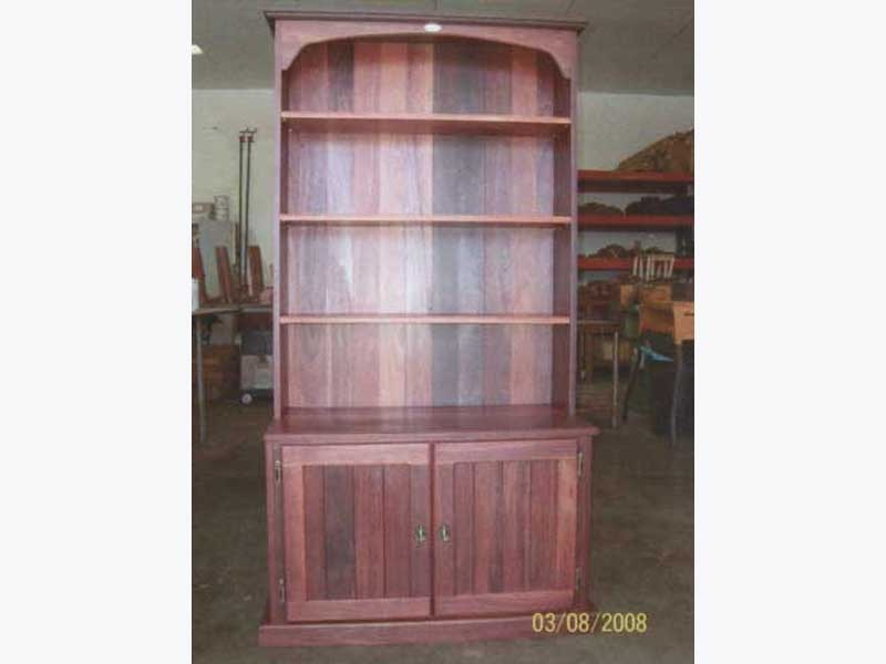 Jarrah bookcase with cupboard below