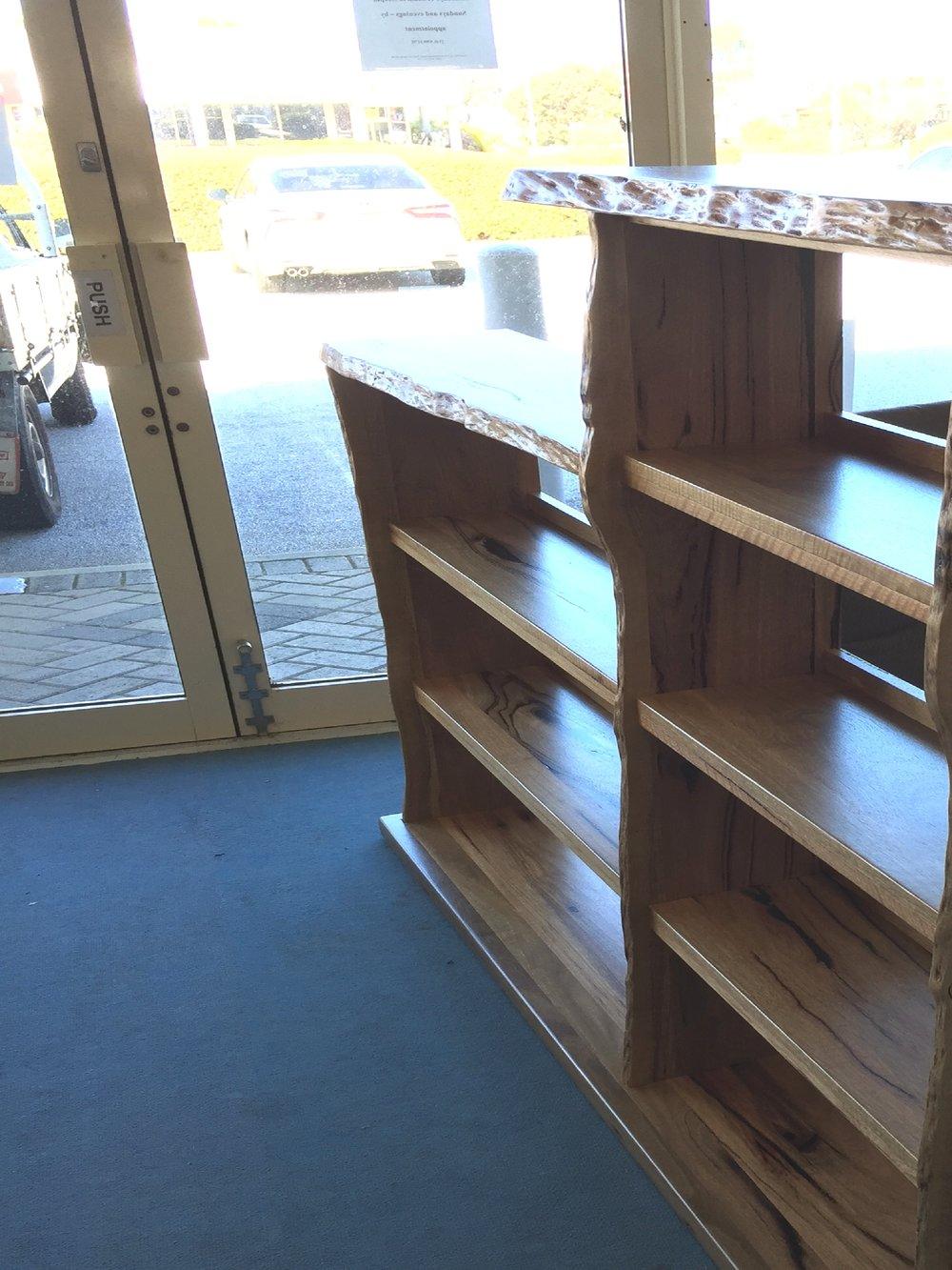 Marri natural edge custom bookcase