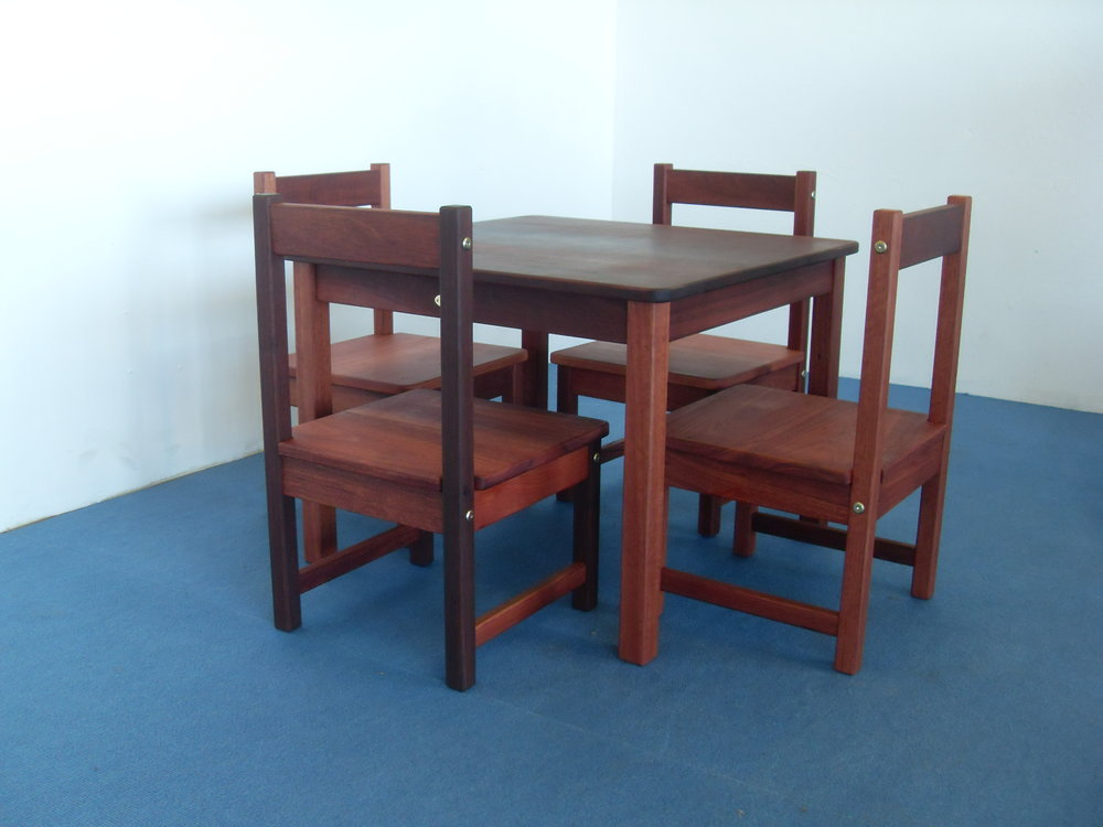 Child's Jarrah table and chairs