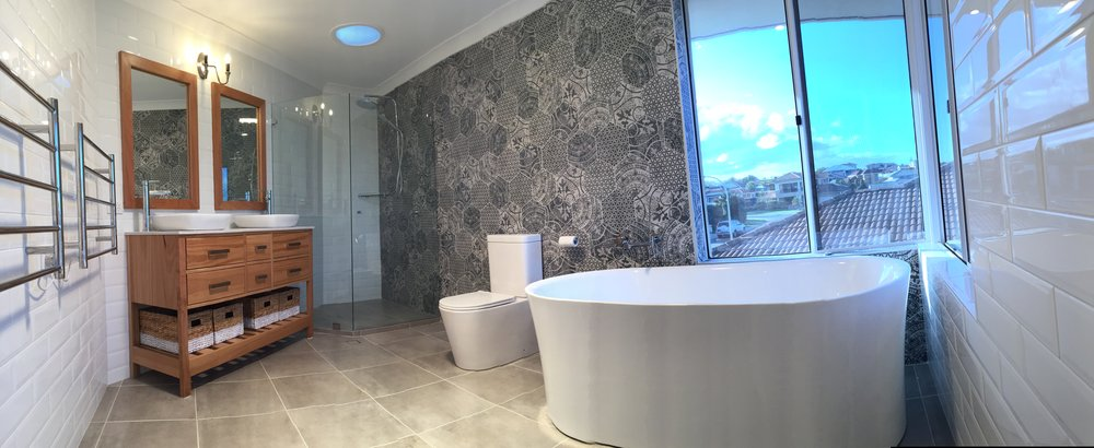 Blackbutt   Vanity and mirrors  bring bathroom to life!
