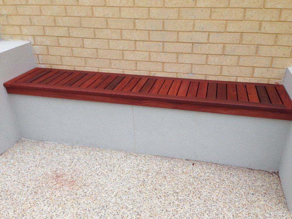 Jarrah bench seat on built in brickwork