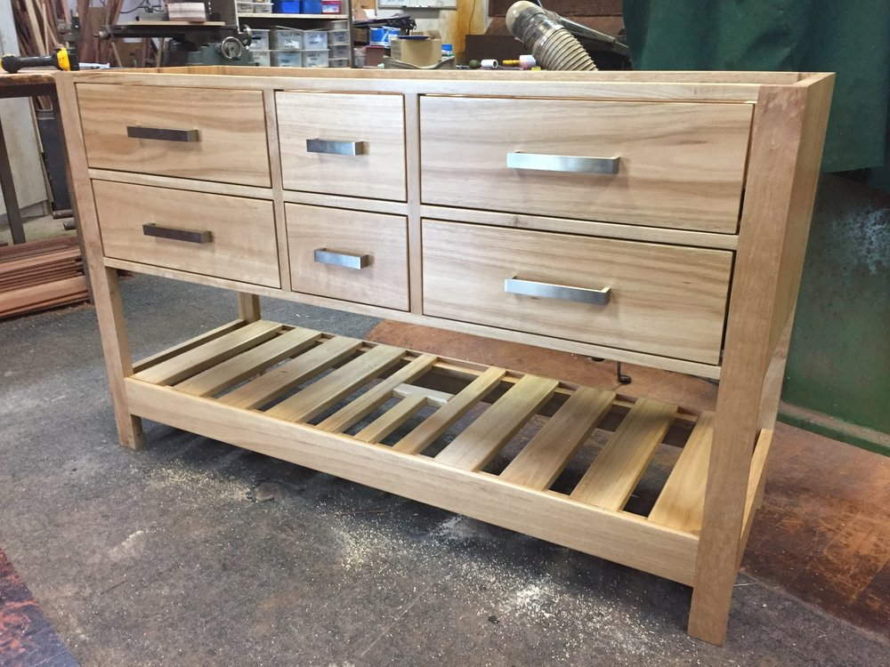 Blackbutt vanity being completed in our workshop