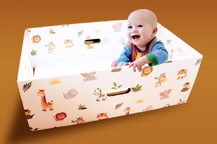 baby inside the Finnish baby box