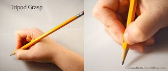 Tripod grasp (3-6 years old) - pencil held between the index and third fingers with the tips of the thumb and index finger on the pencil