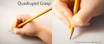 Quadruped grasp (3 years old) - pencil held between the index, third finger, thumb, and rests on the fourth finger