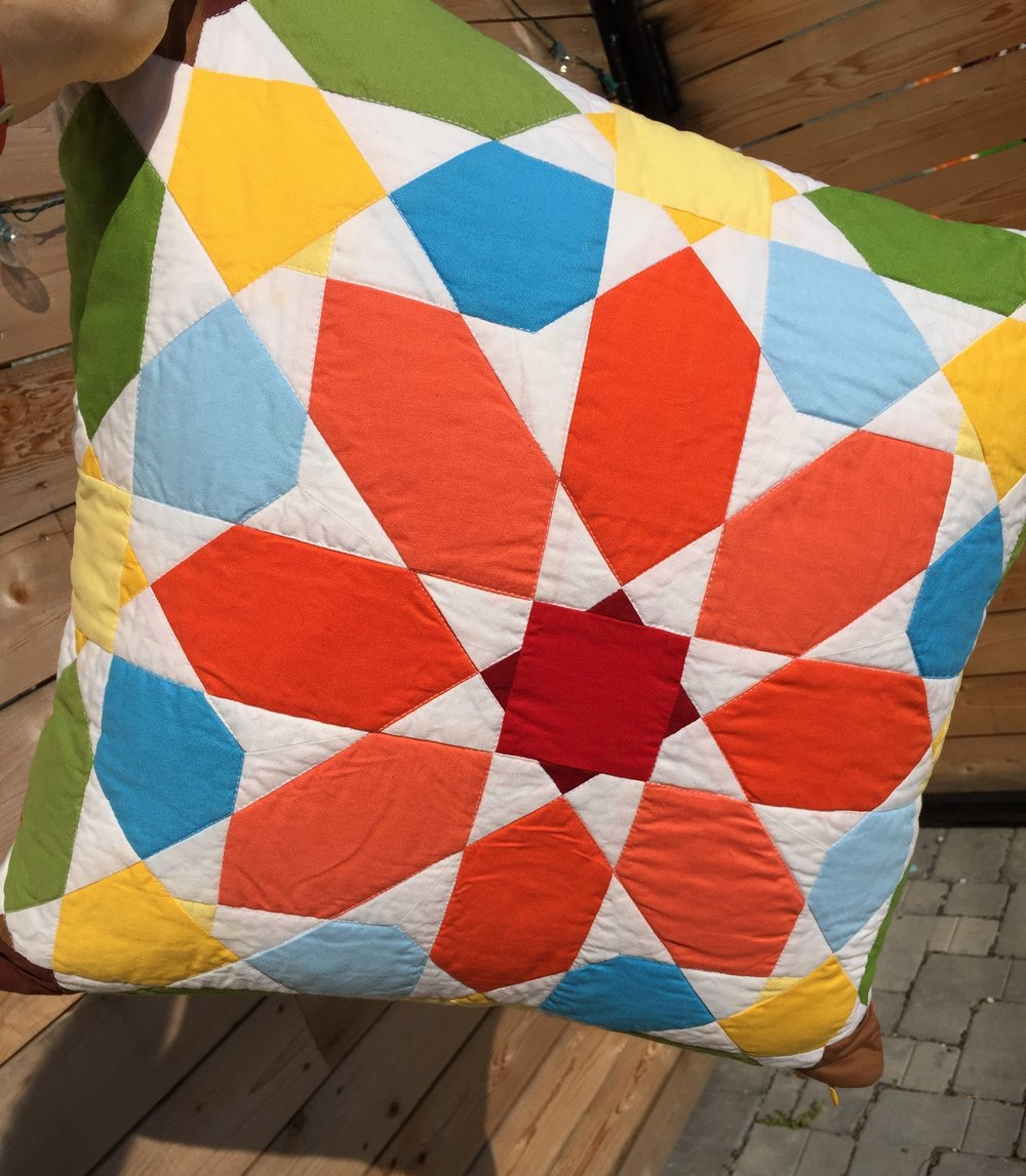 Machine pieced mosaic tile pillow. Find it on Etsy.