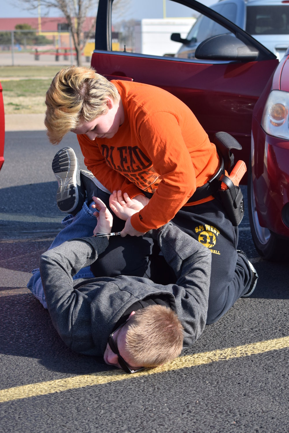 Law Enforcement student practices proper detainment.