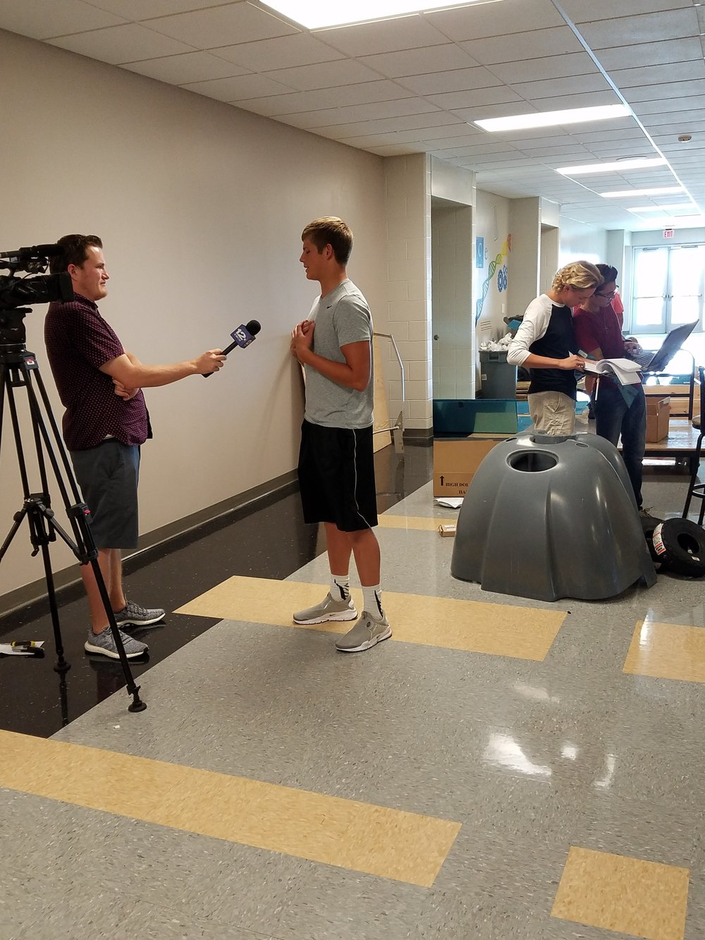 Maize South student is interviewed for KWCH 12 news.
